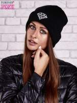 Czarna czapka beanie z diamentową naszywką