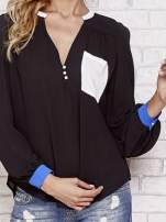 Czarna koszula z kontrastową kieszenią i mankietami