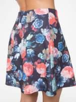 Czarna kwiatowa mini spódnica skater