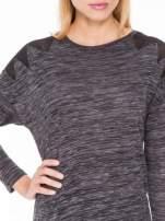 Czarna melanżowa bluzka z tiulowymi wstawkami na ramionach