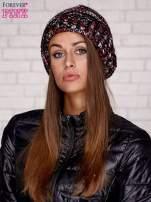 Czarna melanżowa czapka z pomponem