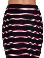 Czarna spódnica midi w różowe paski