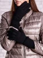 Czarne długie rękawiczki z fantazyjnym ściągaczem