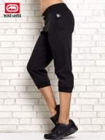 Czarne spodnie capri z troczkiem