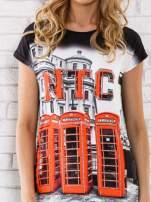 Czarno-biały t-shirt z londyńskim nadrukiem