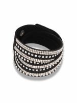 Czarno - srebrna Bransoletka na zamszowym pasku z cyrkoniami