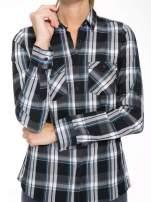 Czarno-turkusowa koszula w kratę z kieszeniami