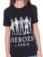 Czarny t-shirt z nadrukiem HEROÉS IN PARIS