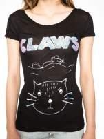 Czarny t-shirt z nadrukiem kota i myszy