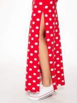 Czerwona spódnica maxi w grochy