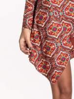 Czerwona sukienka etno z łączonych materiałów