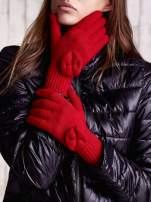 Czerwone rękawiczki z kokardką i długim ściągaczem