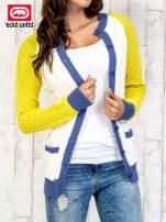 Ecru sweter z kolorowym wykończeniem