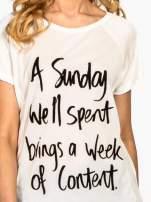 Ecru t-shirt z napisem A SUNDAY