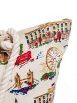 Ecru torba plażowa z motywem Londynu