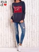 Grafitowa bluza z napisem BODDHA CAT