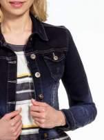 Granatowa kurtka jeansowa z efektem ombre