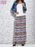 Granatowa spódnica maxi w azteckie wzory