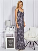 Granatowa sukienka maxi na ramiączkach w łączkę
