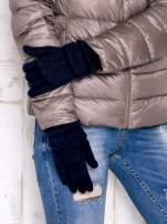 Granatowe rękawiczki z ozdobnym marszczeniem
