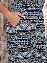 Granatowy letni kombinezon w azteckie wzory z suwakiem