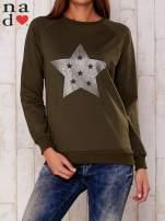 Khaki bluza z nadrukiem gwiazdy