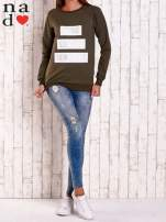 Khaki bluza z napisem PARIS LONDON NEW YORK