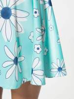 Miętowa rozkloszowana spódnica skater w kwiaty