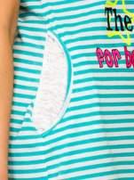 Miętowa sukienka w paski z napisem TIME IS UP