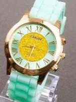 Miętowy zegarek damski na żelowym pasku