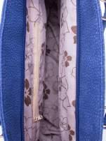 Niebieska miejska torba z czarną lamówką