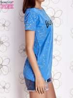 Niebieski t-shirt z napisem BONJOUR