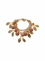 Pomarańczowo - złota Bransoletka z zawieszkami
