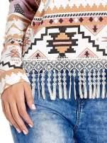 Różowa bluza w azteckie wzory z koronką z frędzlami