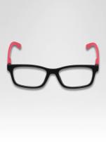 Różowo-czarne okulary zerówki kujonki typu WAYFARER NERDY matowe