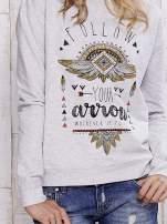Szara bluza boho z napisem FOLLOW YOUR ARROW
