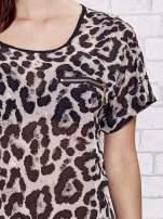 Szara panterkowa bluzka koszulowa ze złotą kieszonką