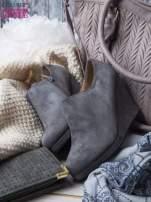 Szare zamszowe botki  na koturnie