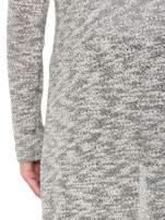 Szary melanżowy sweter typu długi kardigan