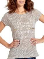 Szary półtransparentny t-shirt z napisem