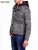 Szary sweter męski z podszewką i kapturem FUNK N SOUL