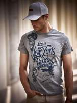 Szary t-shirt męski napisem IT'S A NEW YORK THING