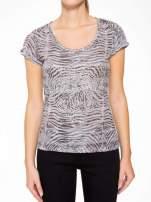 Szary t-shirt z nadrukiem zebry z dżetami