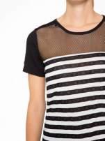 T-shirt w biało-czarne paski z siateczkową górą