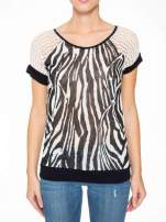 T-shirt z nadrukiem zebry i ażurowymi rękawami