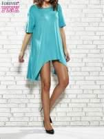 Turkusowa sukienka z wydłużanymi bokami