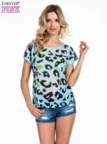 Turkusowy panterkowy t-shirt z koronkowym tyłem