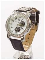Zegarek damski na skórzanym pasku. Duży + cyrkonie