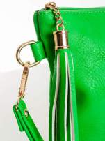 Zielona kopertówka z dżetami napis LUCY WORLD