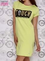Zielona sukienka dresowa ze złotym napisem TOUCH